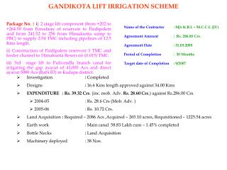 Name of the Contractor : M/s K.B.L – M.C.C.L (JV)  Agreement Amount  :  Rs. 286.00 Crs.