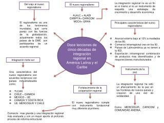 D oce lecciones de cinco d�cadas de integraci�n regional en Am�rica  L atina y el Caribe