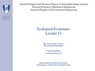 Ecological Economics Lecture 13