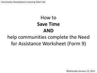 Community Development Learning Team Call
