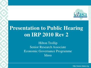 Presentation to Public Hearing  on IRP 2010 Rev 2