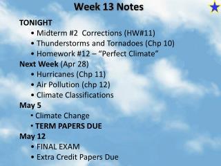 Week  13  Notes