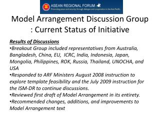 Model Arrangement Discussion Group : Current Status of Initiative