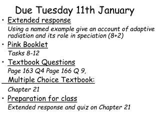 Due Tuesday 11th January