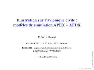 Illustration sur l'avionique civile : modèles de simulation APEX + AFDX