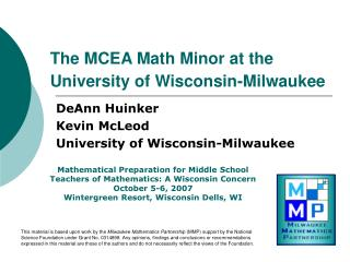 The MCEA Math Minor at the  University of Wisconsin-Milwaukee