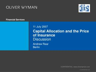 Capital Allocation and the Price of Insurance Discussion