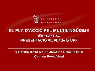 VICERECTORA DE PROMOCIÓ LINGÜÍSTICA Carmen Pérez Vidal