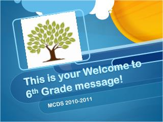 This is your Welcome to 6 th  Grade message!