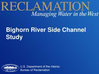 Bighorn River Side Channel Study