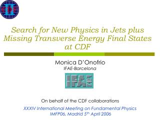 Search for New Physics in Jets plus Missing Transverse Energy Final States at CDF
