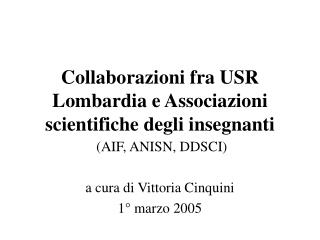 Collaborazioni fra USR Lombardia e Associazioni scientifiche degli insegnanti