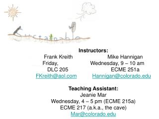 Instructors:   Frank KreithMike Hannigan Friday, Wednesday, 9 – 10 am DLC 205ECME 251a