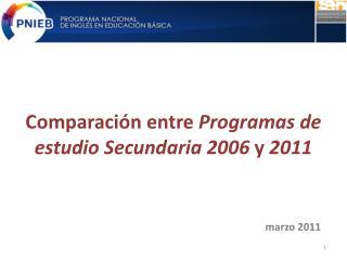 Comparación entre Programas  de estudio Secundaria 2006  y  2011