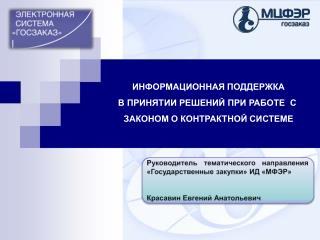 Руководитель тематического направления «Государственные закупки» ИД «МФЭР»