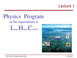 Physics  Program of the experiments at  L arge  H adron C ollider
