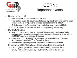 CERN: important events
