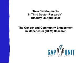 """New Developments in Third Sector Research""  Tuesday 28 April 2009"