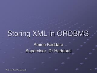 Storing XML in ORDBMS