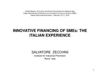 SALVATORE  ZECCHINI Institute for Industrial Promotion Rome  Italy