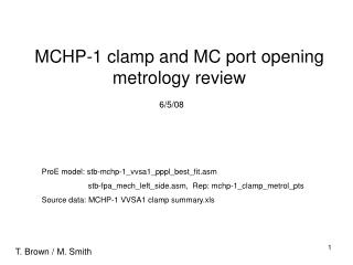 MCHP-1 clamp and MC port opening metrology review
