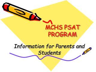 MCHS PSAT PROGRAM