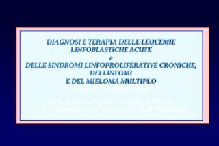 DIAGNOSI E TERAPIA DELLE LEUCEMIE LINFOBLASTICHE ACUTE  e