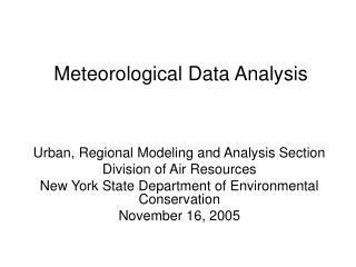 Meteorological Data Analysis
