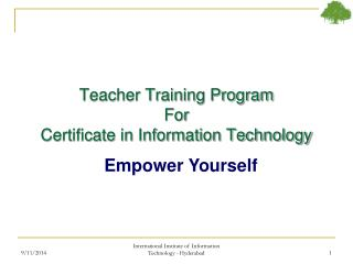Teacher Training Program For Certificate in Information Technology