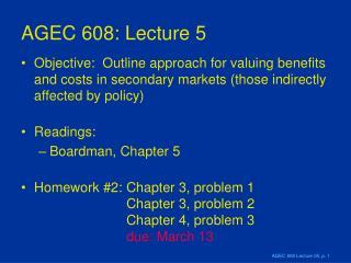AGEC 608: Lecture 5