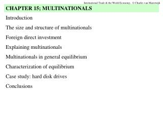 Introduction The size and structure of multinationals Foreign direct investment