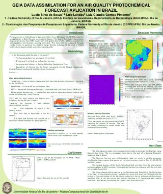 GEIA DATA ASSIMILATION FOR AN AIR QUALITY PHOTOCHEMICAL FORECAST APLICATION IN BRAZIL
