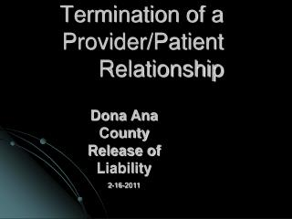 Termination of a Provider/Patient Relationship