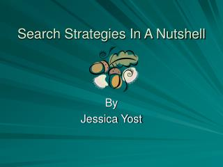 Search Strategies In A Nutshell