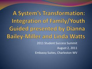 2011 Student Success Summit  August 2, 2011 Embassy Suites, Charleston WV
