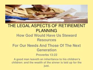 THE LEGAL ASPECTS OF RETIREMENT PLANNING