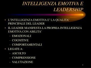 INTELLIGENZA EMOTIVA E LEADERSHIP