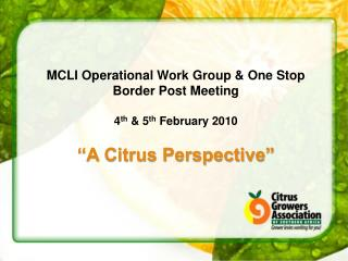 MCLI Operational Work Group & One Stop Border Post Meeting 4 th  & 5 th  February 2010