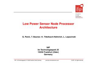 Low Power Sensor Node Processor Architecture