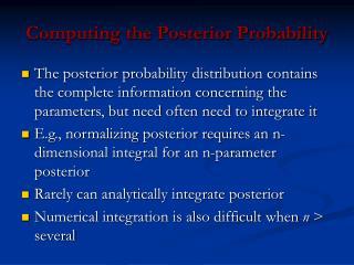 Computing the Posterior Probability