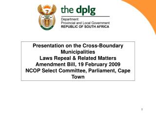 Presentation on the Cross-Boundary Municipalities Laws Repeal & Related Matters
