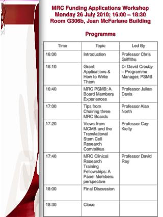 MRC Funding Applications Workshop Programme