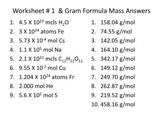 PPT - 6.3 The Gram Formula Mass PowerPoint Presentation - ID:5686477