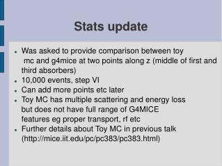 Stats update