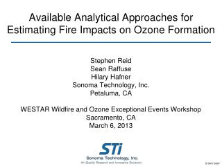 Available Analytical Approaches for Estimating Fire Impacts on Ozone Formation