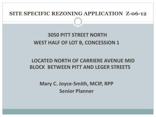SITE SPECIFIC REZONING APPLICATION  Z- 06-12
