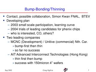 Bump-Bonding/Thinning