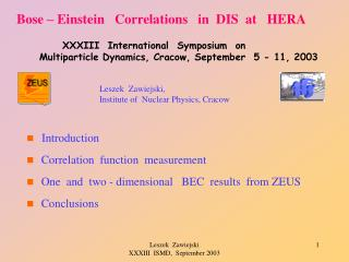 Bose – Einstein    Correlations    in  DIS  at   HERA