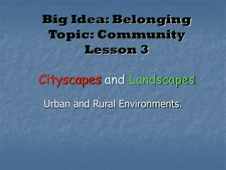 Big Idea: Belonging Topic: Community Lesson 3 Cityscapes  and  Landscapes