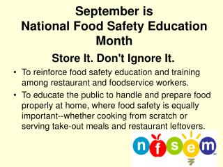 September is National Food Safety Education Month